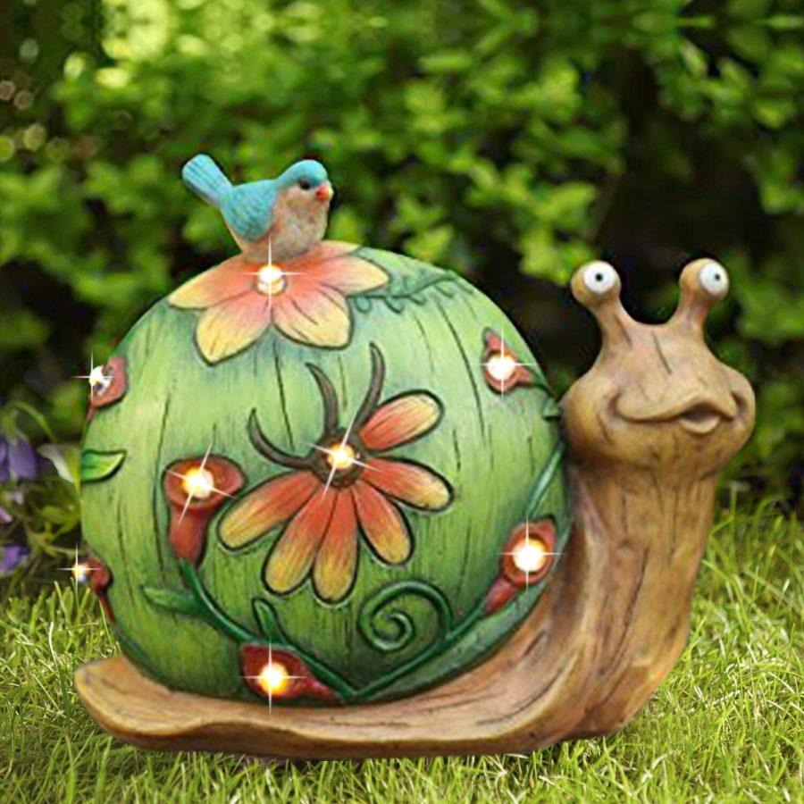 28 Garden Statue Snail Figurine, Solar Powered